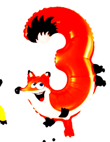 20 inches animal designs foil Number 3 balloon