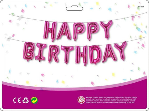 Pink 'HAPPY BIRTHDAY' Foil Balloons (Letters) Decoration Kit
