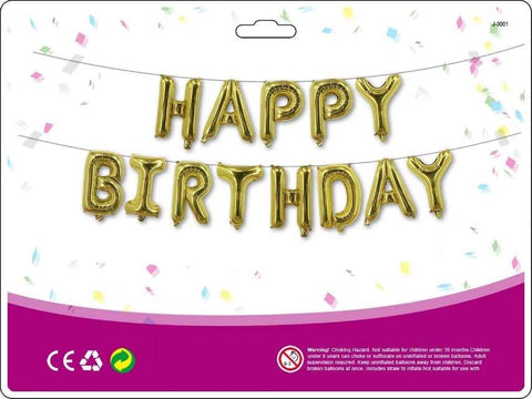 Gold 'Happy Birthday' Foil Balloons (letters) Decoration Kit