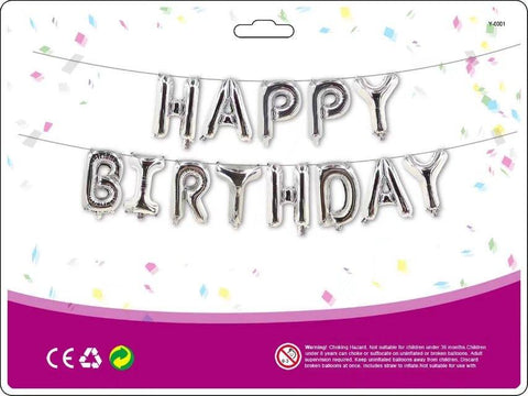 Silver Coloured Foil Balloons 'HAPPY BIRTHDAY' Decoration Kit