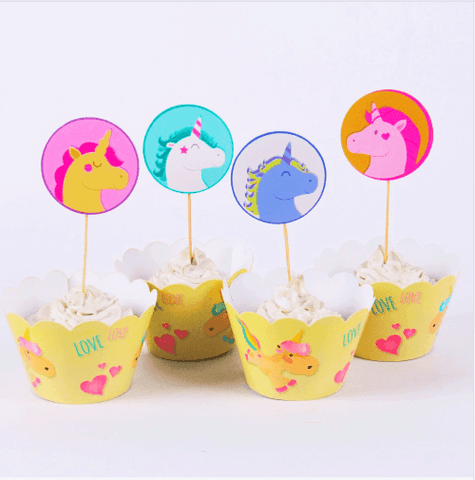 Unicorn Party Cupcake Wrapper and Topper x 24 pieces