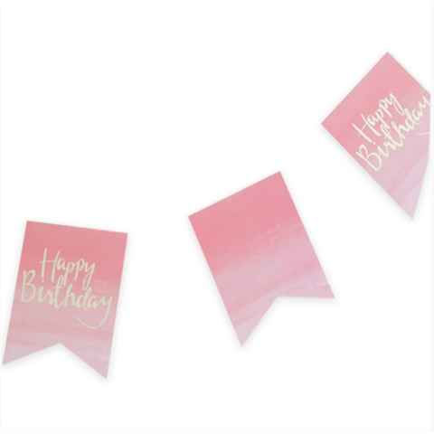 Pink and Mix Pink Ombre Happy Birthday Bunting - partypicks.com.au