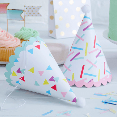Pink and Mix Sprinkles Paper Party Hats*6 - partypicks.com.au