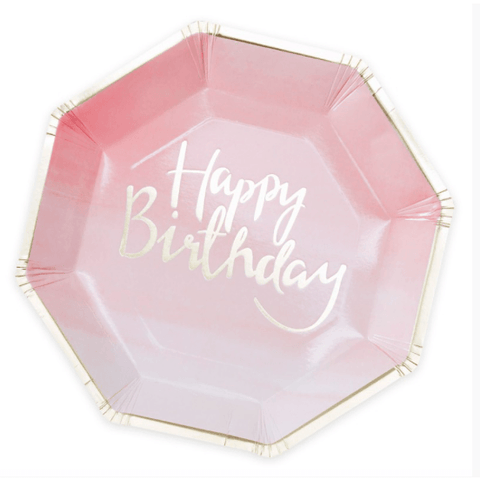 Pink and Mix Pink Ombre Paper Party Plates*8 - partypicks.com.au