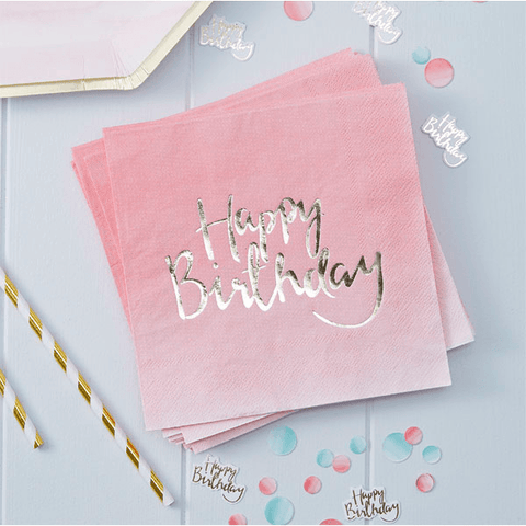Pink and Mix Pink Ombre Paper Party Napkins*20 - partypicks.com.au
