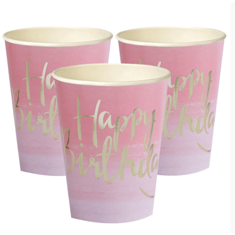 Pink and Mix Pink Ombre Paper Party Cups*8 - partypicks.com.au