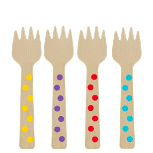 Rainbow Mini Wooden Forks x12