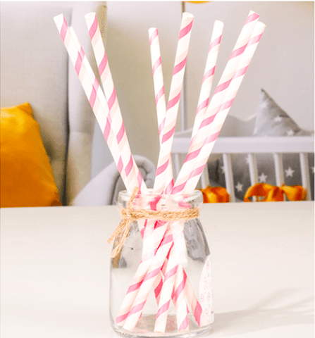 Birthday Party Ribbon Baby Pink Straws