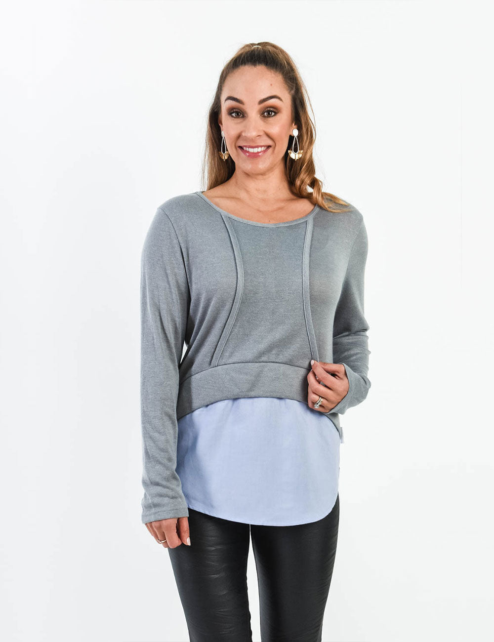 Curvy Love Knit Top - Grey/Lilac *Size 12 left*