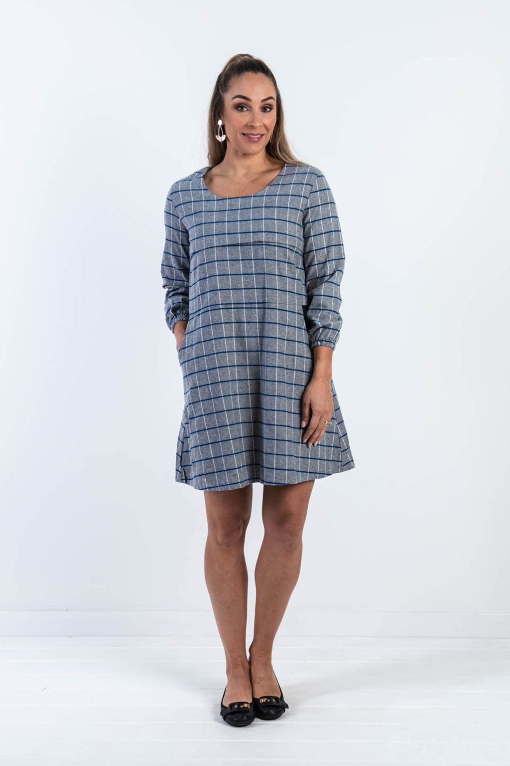 Avery Grid Skater Dress (SIZE L LEFT, FINAL SALE)