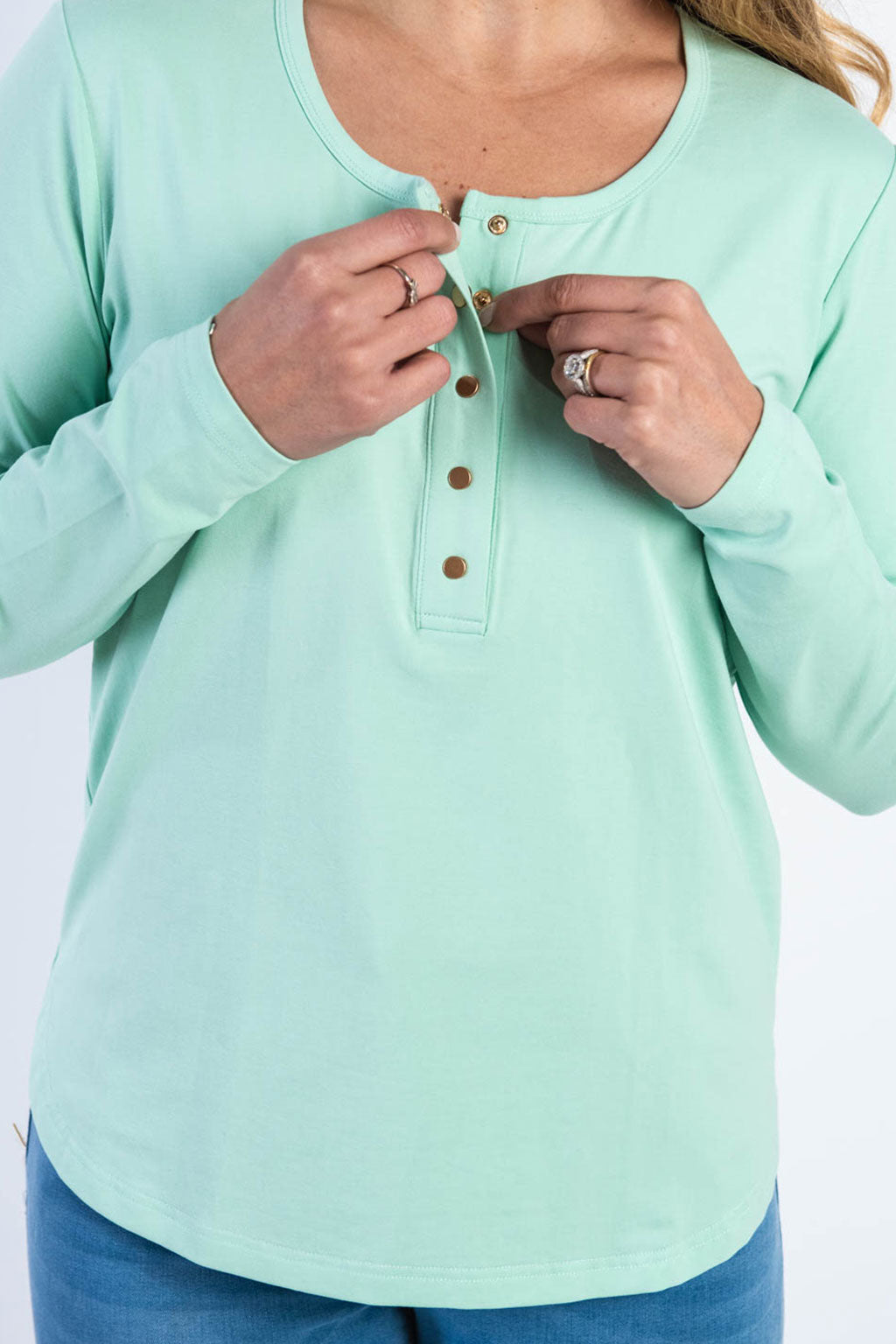 Brooke Button Front Long Sleeve Tee - Mint