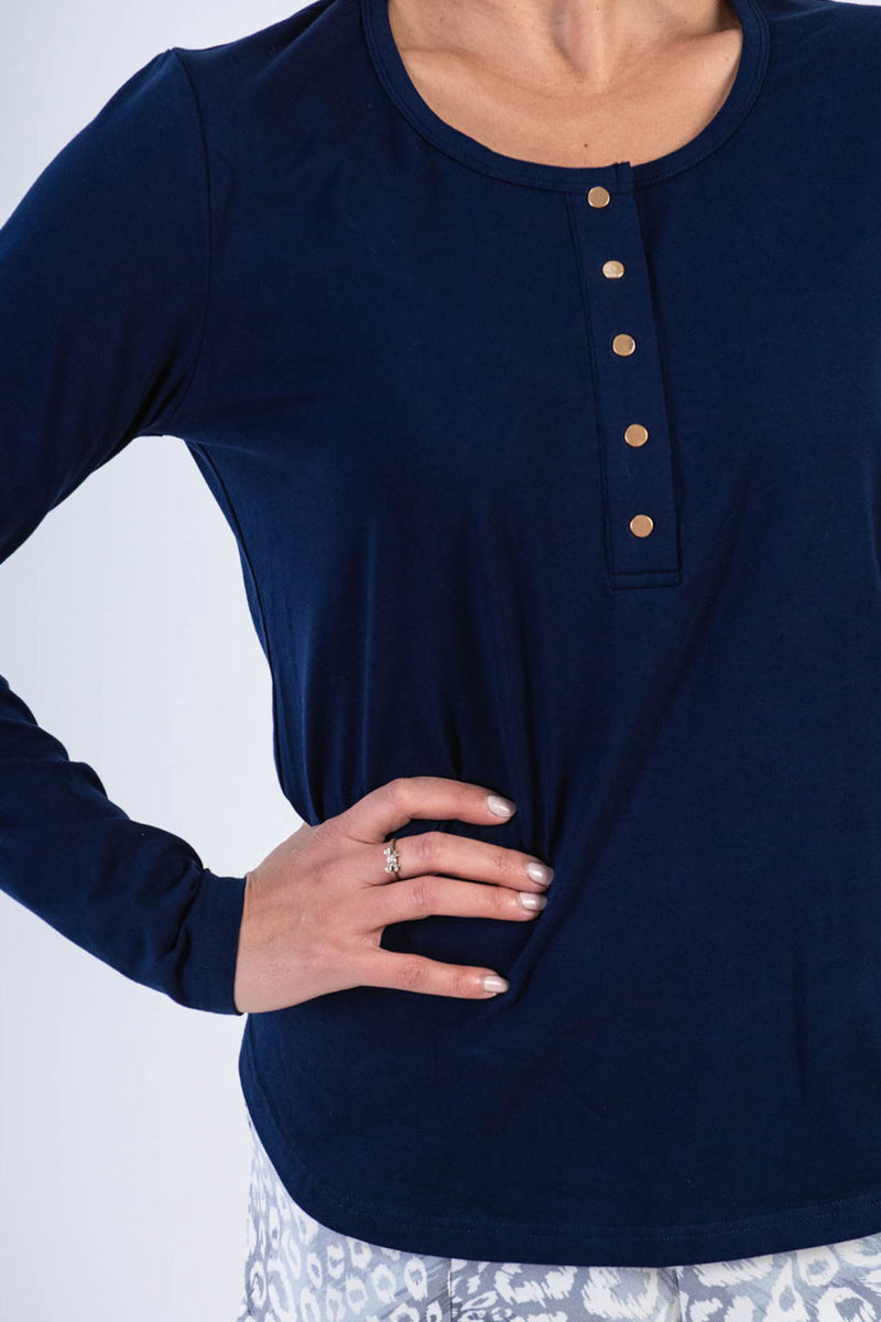 Brooke Button Front Long Sleeve Tee - Navy