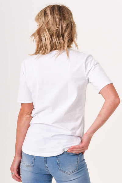Brooke Button Front Short Sleeve Tee V1.0 - White (ONLY SIZE 10 and 18 LEFT)
