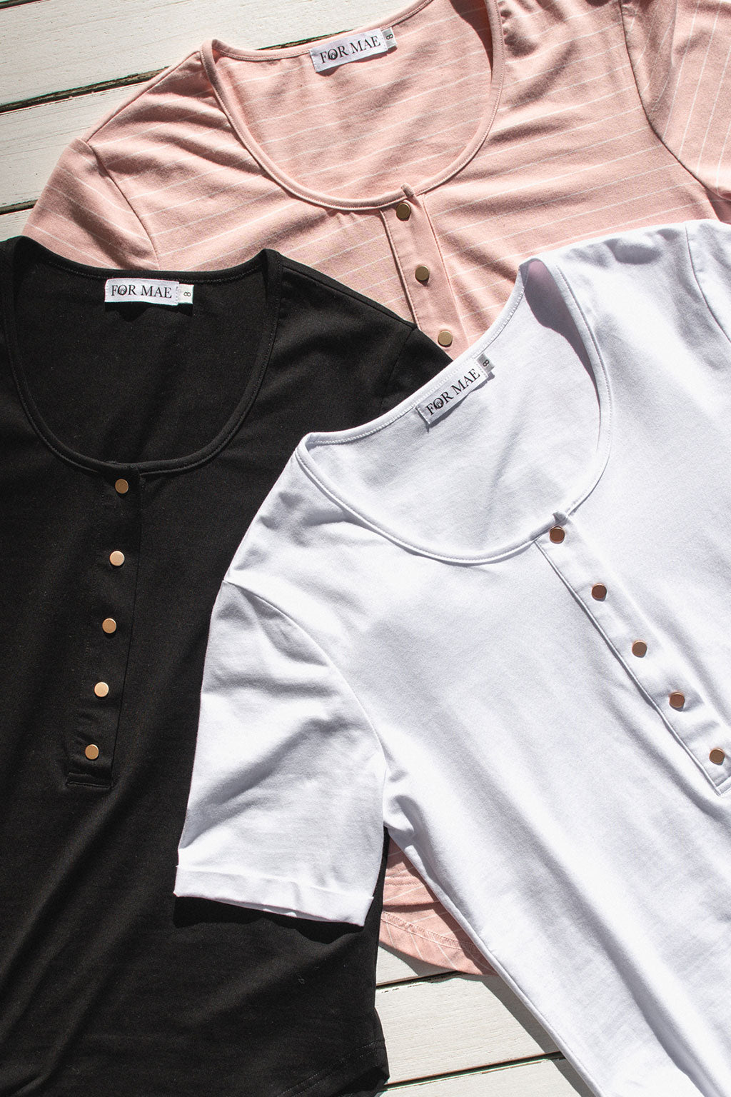Brooke Short Sleeve Tee 3-Pack Bundle - Black, White, Blush Stripe