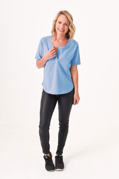 Brooke Button Front Short Sleeve Tee V2.0 - Cornflower Blue