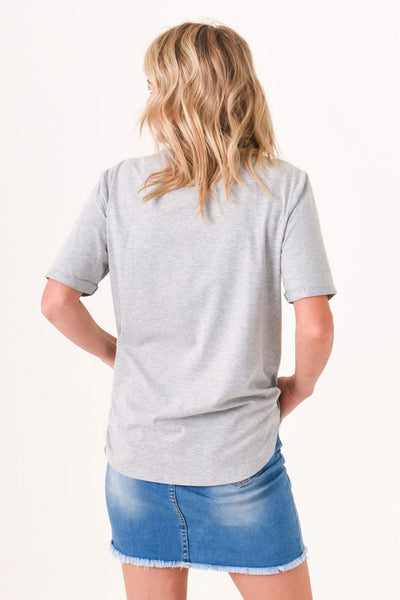 Brooke Button Front Short Sleeve Tee V2.0 - Heather Grey