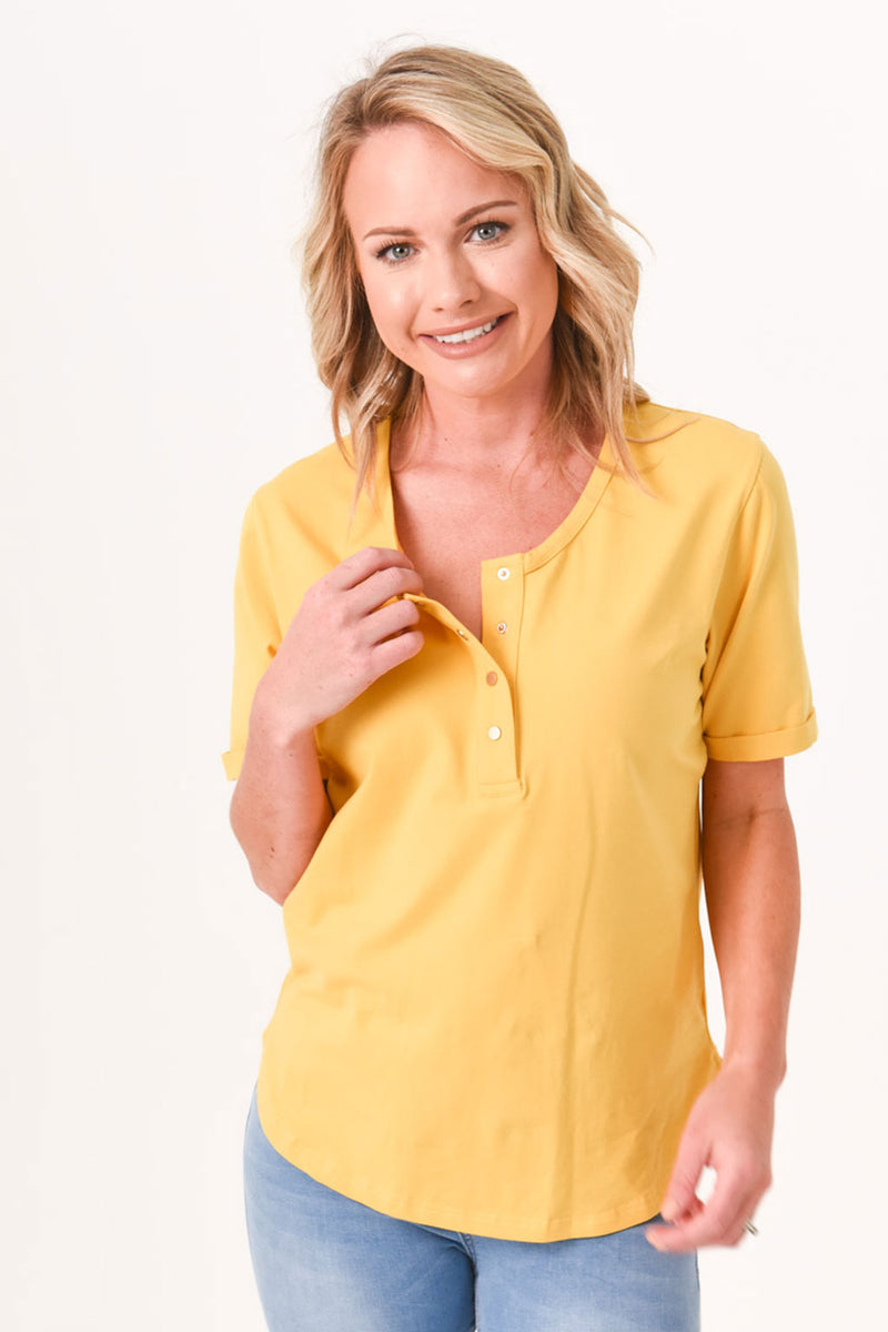 Brooke Button Front Short Sleeve Tee V2.0 - Mustard