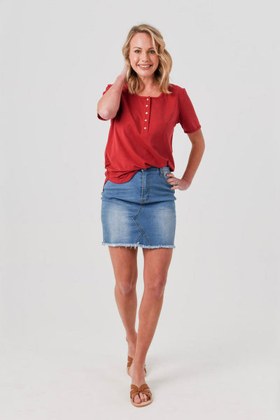 Brooke Button Front Short Sleeve Tee V1.0 - Dark Red