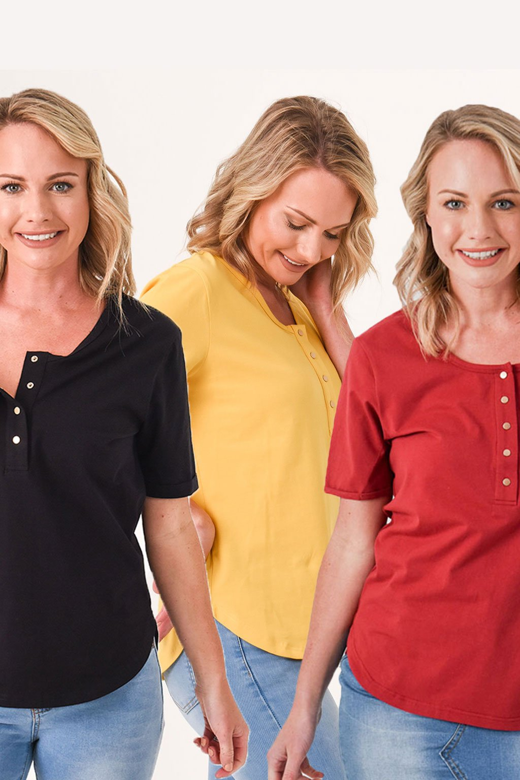 Brooke Short Sleeve Tee 3-Pack Autumn Bundle - Black, Mustard, Dark Red