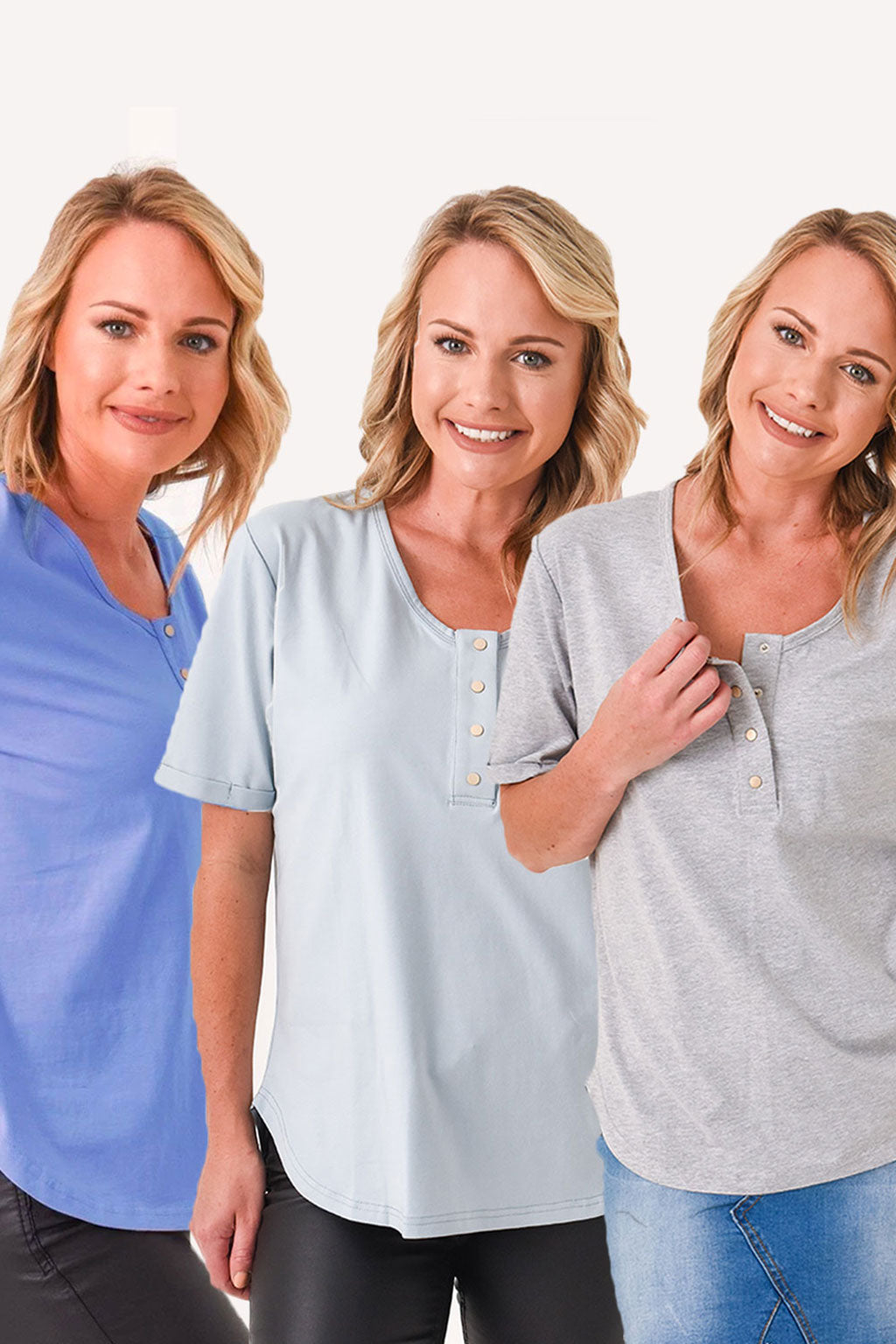 Brooke Short Sleeve Tee 3-Pack Blues Bundle - Grey, Ash Blue, Cornflower