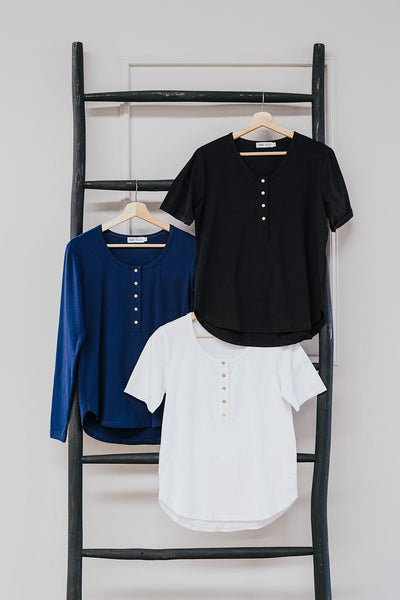 Brooke Tee Spring 3-Pack Bundle - White Short, Black Short, Navy Long Sleeve  (ONLY SIZE 10 LEFT)