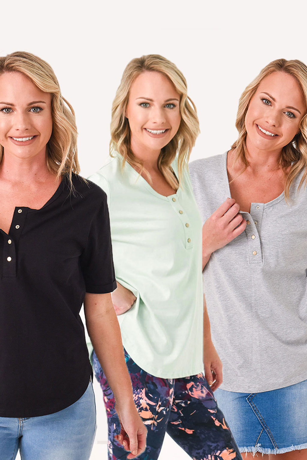 Brooke Short Sleeve Tee 3-Pack Summer Bundle - Black, Grey, Sage