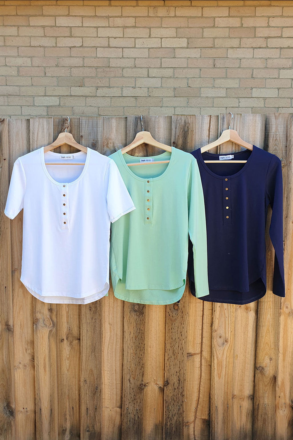 Brooke Tee Winter Essentials 3-Pack Bundle - White Short, Mint Long, Navy Long Sleeves