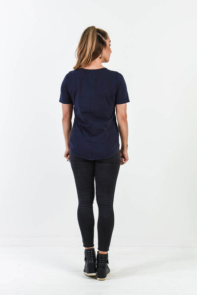 Chloe Tee - Navy/Grey