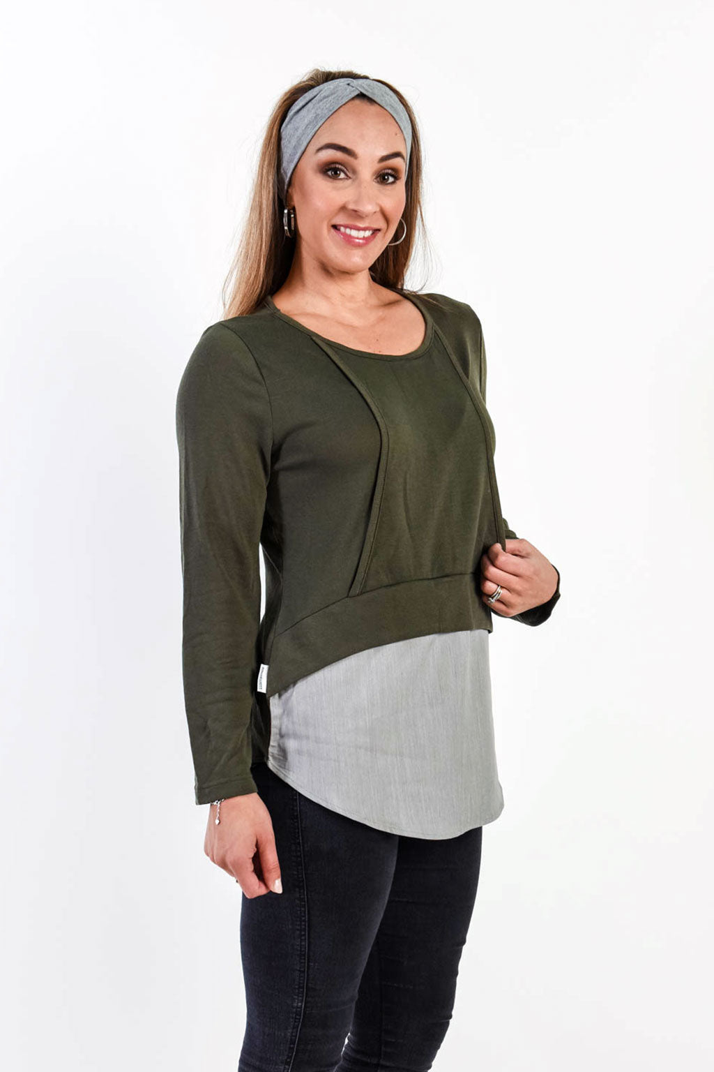 Curvy Love Knit Top - Khaki/Grey (FINAL SALE, L & XL left)