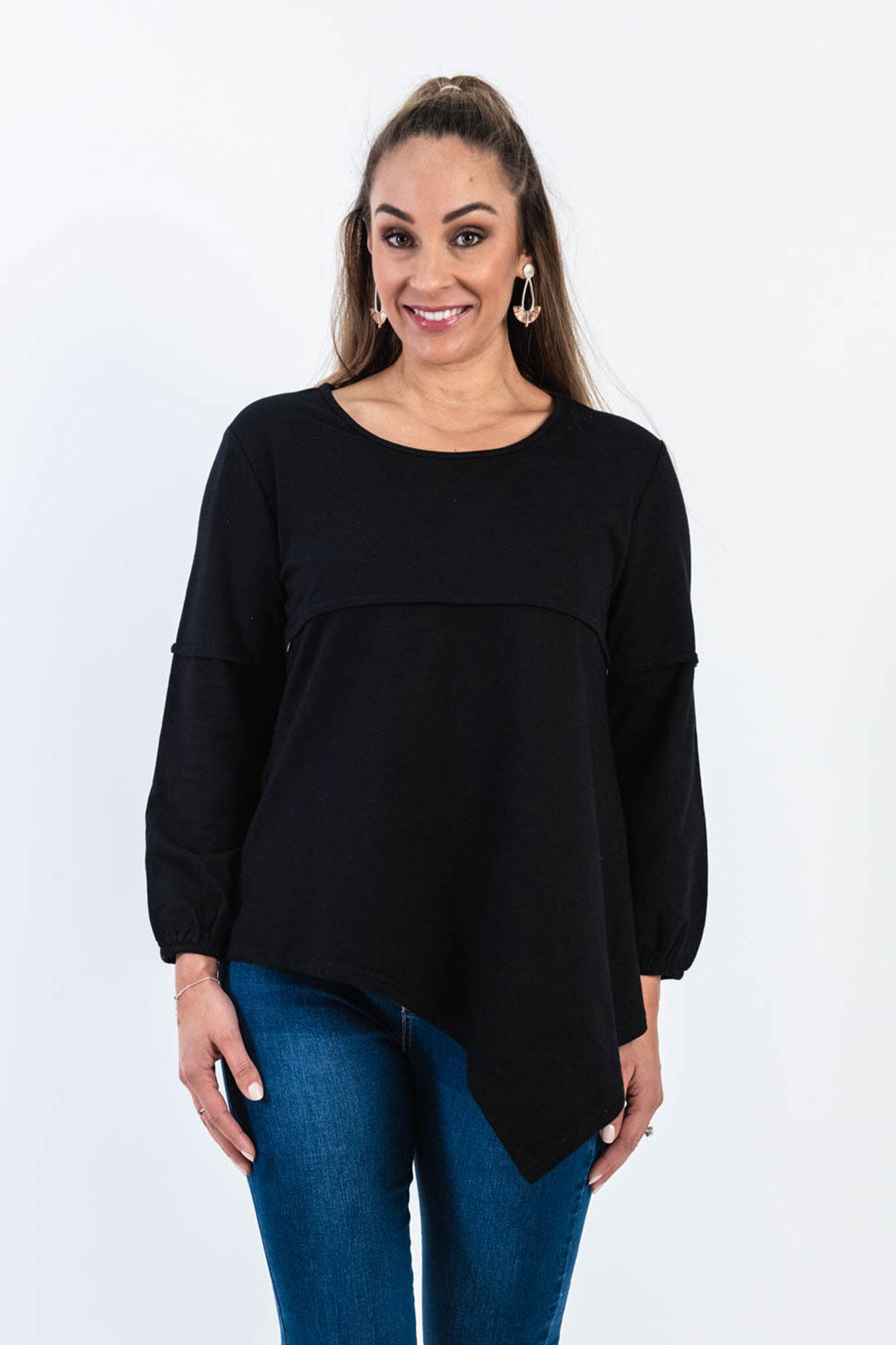 Hannah Black Asymmetrical Top