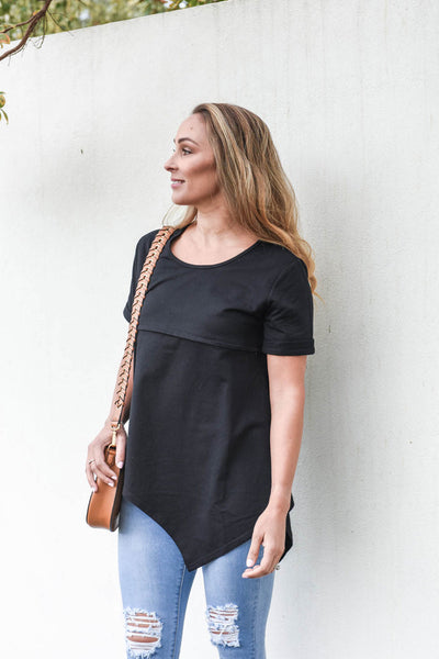 Helen Short Sleeve Asymmetrical Tee (FINAL SALE)