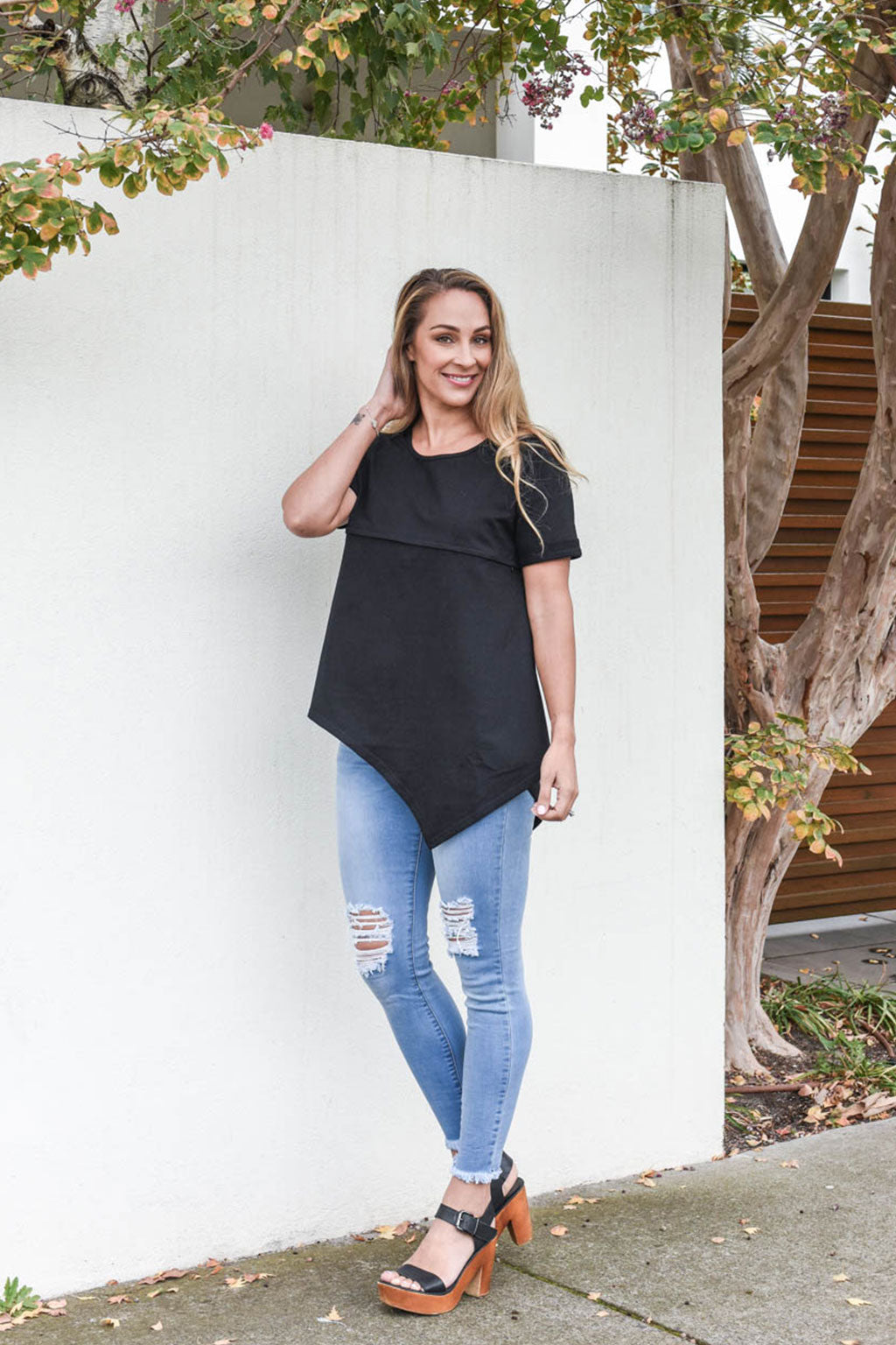 Henley Short Sleeve Asymmetrical Tee