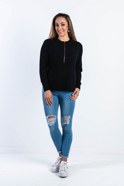 Katelyn Zip Front Knit - Black