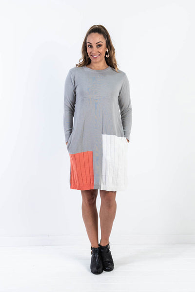 Colour Block Knit Dress - Light Grey