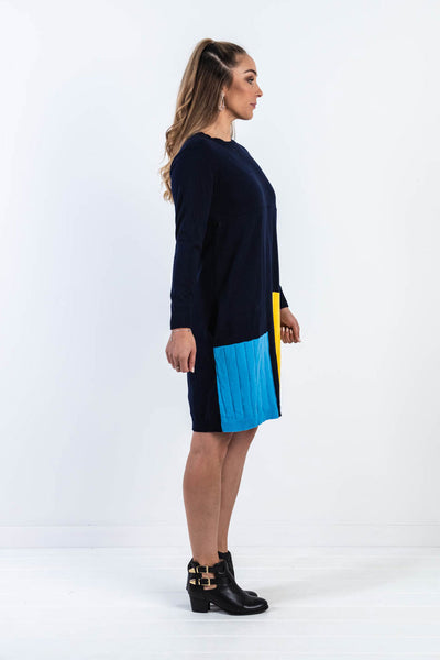 Colour Block Knit Dress - Navy