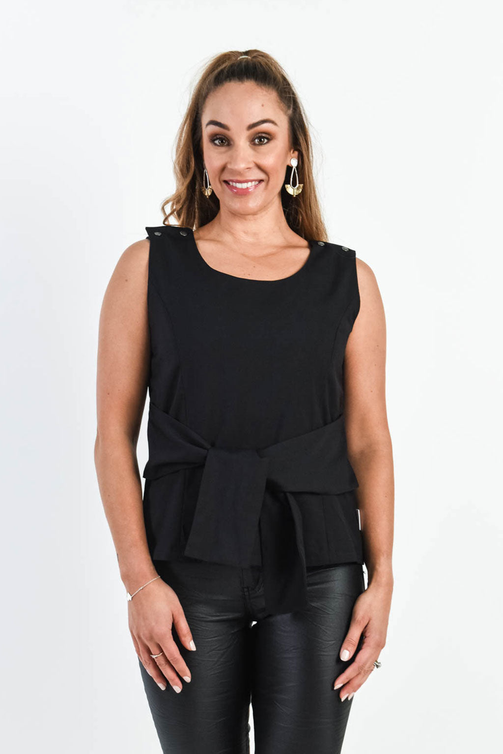 Tie Me Beautiful Top - Black (FINAL SALE)