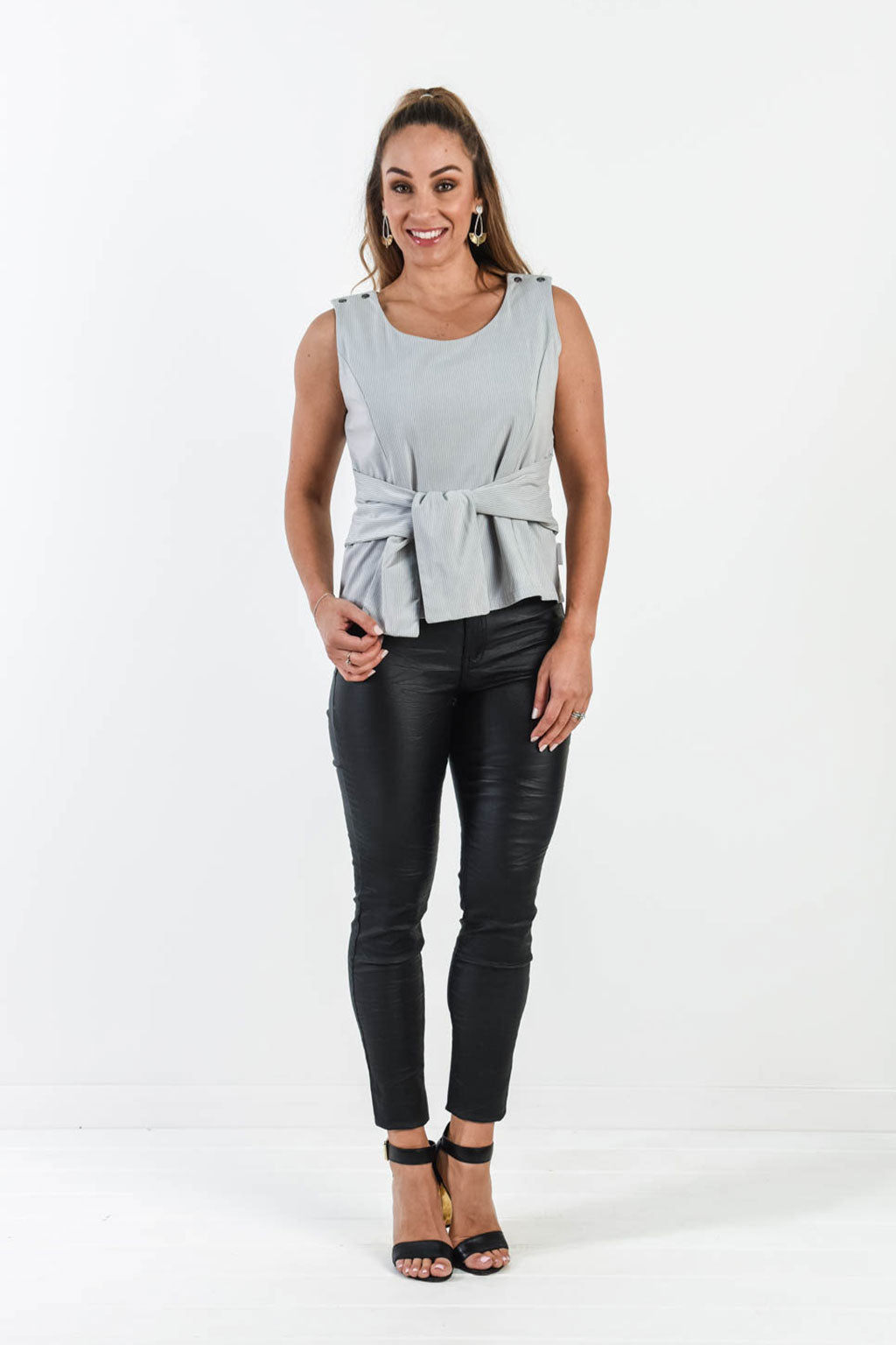 Tie Me Beautiful Top - Grey Stripe (FINAL SALE)