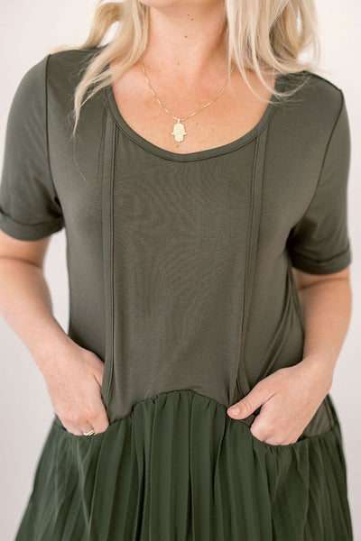 Olivia T-shirt Dress - Khaki Green Waffle