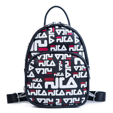 Print Design Double Zipper Front PU Leather Backpack - Siscloset