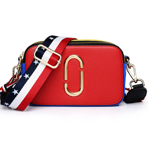 Bright Color PU Crossbody Bag with Nylon Wide Strap - Siscloset