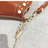 Pearly Decorated PU Totes with Chain Strap - Siscloset