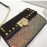 Metal Rivet Decorated Sequins Crossbody Bag - Siscloset