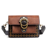 Pearly Rivet Decorated Retro Crossbody Bag - Siscloset