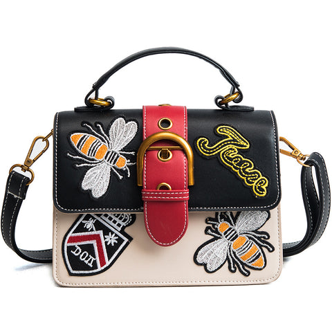 Retro Bee Design Embroidery PU HandBag - Siscloset