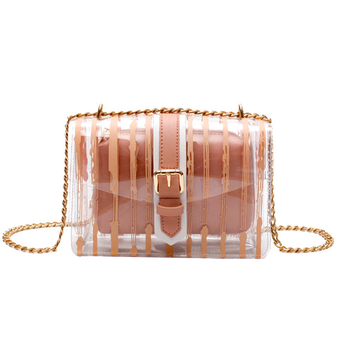 Stripe Design Crossbody Jelly Bag - Siscloset