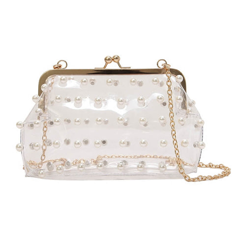 Pearly Decorated Clip Bag Jelly Bag - Siscloset