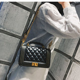 Metal Lock PU Crossbody Bag with Chain Strap - Siscloset
