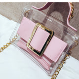 Square Buckle PVC Bag With Inside Wallet - Siscloset