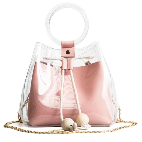 Chic Round Hand PVC Totes - Siscloset