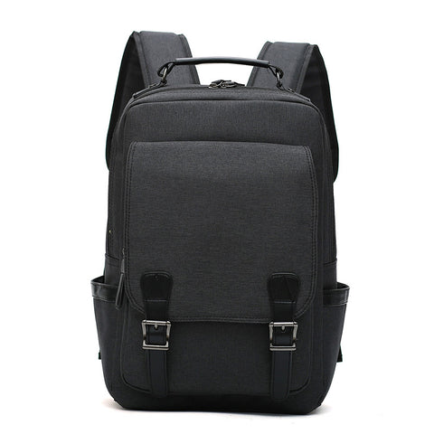 Zipper & Buckle Front Canvas Backpack Laptop Bag - Siscloset